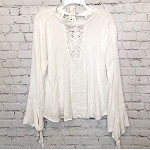 NWT BAND OF GYPSIES / bell sleeves lace boho top